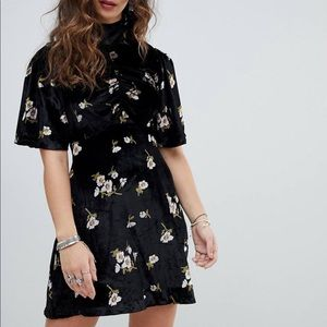 Free People Be My Baby Velvet Skater Mini Dress